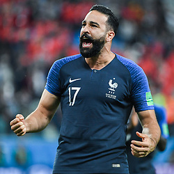 Adil Rami of France celebrates during the Semi Final FIFA World Cup match between France and Belgium at Krestovsky Stadium on July 10, 2018 in Saint Petersburg, Russia. (Photo by Anthony Dibon/Icon Sport)