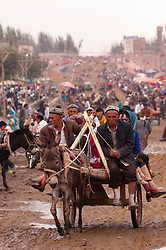 View of busy Kashgar Sunday Market in Xinjiang Province, China