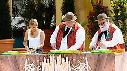 """14.06.2015, Europapark, Rust, GER, ARD TV Show, Immer wieder Sonntags, im Bild Stefanie Haertel und die Wildecker Herzbuben beim Spargelschaelen // during the ARD TV Show """"Immer wieder Sonntags"""" at the Europapark in Rust, Germany on 2015/06/14. EXPA Pictures © 2015, PhotoCredit: EXPA/ Eibner-Pressefoto/ Goermer<br /> <br /> *****ATTENTION - OUT of GER*****"""