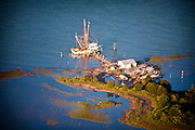 Aerial view of a shrimp boat in the marsh near Charleston, SC