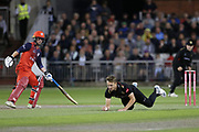 Leicestershire Foxes Will Davis dives to save runs  during the Vitality T20 Blast North Group match between Lancashire Lightning and Leicestershire Foxes at the Emirates, Old Trafford, Manchester, United Kingdom on 30 August 2019.