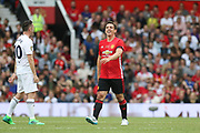 Manchester United 08 XI Gary Neville laughs after his miss during the Michael Carrick Testimonial Match between Manchester United 2008 XI and Michael Carrick All-Star XI at Old Trafford, Manchester, England on 4 June 2017. Photo by Phil Duncan.
