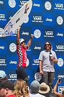 Huntington Beach, CA - August 06: Kanoa Igarashi celebrates his victory at the Vans US Open of Surfing in Huntington Beach, California on August 6, 2017. (Photo Jim Kruger/Kruger-images.com)