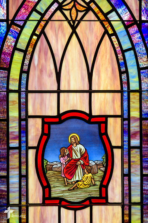 Stained glass depicting Jesus and the children (Matthew 19:14) at St. John's Lutheran Church, Conover, N.C, on Friday, April 21, 2017. LCMS Communications/Erik M. Lunsford