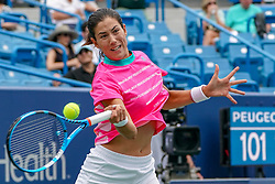 August 15, 2018 - Mason, Ohio, U.S. - GARBINE MUGURUZA of Spain in action during Wednesday's second round of the Western and Southern Open at the Lindner Family Tennis Center. (Credit Image: © Scott Stuart via ZUMA Wire)