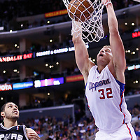 16 December 2013: Los Angeles Clippers power forward Blake Griffin (32) dunks the ball during the Los Angeles Clippers 115-92 victory over the San Antonio Spurs at the Staples Center, Los Angeles, California, USA.