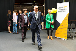 © Licensed to London News Pictures. 26/04/2019. London, UK. Liberal Democrat Leader Vince Cable leaves after making a speech at the Liberal Democrat party European elections campaign launch held in Tobacco Dock. Liberal Democrat party leader, Vince Cable announced Member of European Parliament (MEP) candidates for the upcoming European Parliament elections that will take place from 23rd to 26th May 2019. Photo credit: Vickie Flores/LNP.