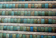Wall decoration from the funerary apartments of King Dioser.  Dynasty 3, reign of Dioser (ca 2630-2611).  Blue-green faiences, ledges are modern plaster restoration.