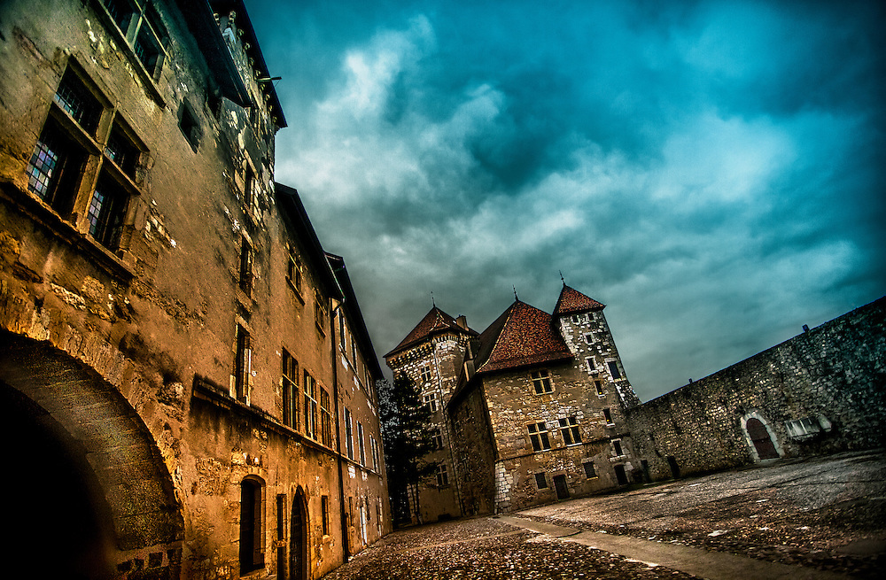 The courtyard of the 12th century French castle Le Chateau d'Annecy. Annecy, France. March, 2013.