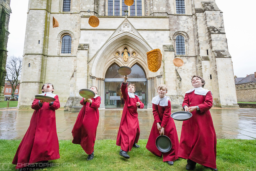Image provide free for editorial use.<br /> <br /> Chichester Cathedral&rsquo;s Choristers have been enjoying some pancake fun in Chichester Cathedral in preparation for Shrove Tuesday. (&lsquo;This is much better than assembly&rsquo; they said&hellip;) Picture date: Monday February 27, 2017.<br /> <br /> Shrove Tuesday is the day before the first day of Lent known as Ash Wednesday. Traditionally on Shrove Tuesday Christians use up food that could not be eaten during Lent, which was a time for fasting and penance. Pancakes were an easy way to use up eggs, butter and milk as well as all the (lovely) things such as chocolate, sugar and cream.<br /> <br /> During term time, the choristers sing almost every day in Chichester&rsquo;s historic Cathedral, performing to the highest professional standards, developing confidence and ambitions as they progress but, as the photo shows, they clearly have time for fun too.  The boys are educated at the Prebendal School, one of Sussex&rsquo;s leading independent schools for boys and girls aged 3-13<br /> <br /> This coming weekend Chichester Cathedral is offering an exciting opportunity for boys who love to sing.  On Saturday 4th March, from 1pm to 4pm, the Cathedral will be hosting a &lsquo;Chorister Open Day&rsquo; where boys and their families can come and find out more about the life of a chorister.  The afternoon will include joining the choristers for a vocal workshop, a tour of Prebendal School, the opportunity to meet and chat with the parents of current choristers and finally the chance to sing with the choir at Evensong in the Cathedral. This event is primarily for boys in Years 2 and 3 but parents with younger boys are very welcome to come along too, previous formal singing experience is not necessary - any boy who loves to sing is welcome.  Visit http://www.chichestercathedral.org.uk/worship/cathedral-choir/ for more details.<br /> <br /> Enquiries from press and media representatives are very welcome. Please contact the Cathedral&rsquo;s Visitor Services Officer, Ruth Poyner tel: 01243 812482 or email: visitors@c