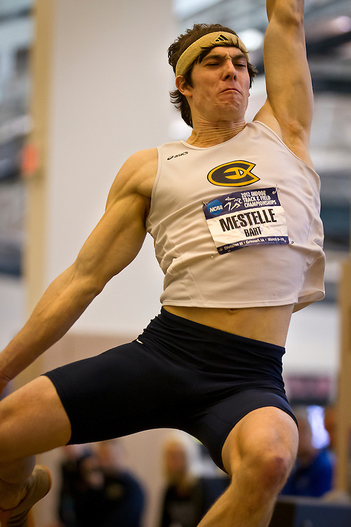 Wisconsin-Eau Claire Heptathlete Bart Mestelle leaps during the long jump competition on Friday during the NCAA Division III Indoor Track and Field National Championships at Grinnell College.