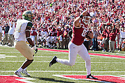 FAYETTEVILLE, AR - OCTOBER 25:  Luke Rossi #82 of the Arkansas Razorbacks catches a pass for a touchdown against the UAB Blazers at Razorback Stadium on October 25, 2014 in Fayetteville, Arkansas.  The Razorbacks defeated the Blazers 45-17.  (Photo by Wesley Hitt/Getty Images) *** Local Caption *** Luke Rossi