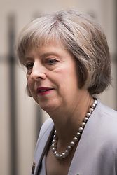 Downing Street, London, October 27th 2015.  Home Secretary Theresa May leaves 10 Downing Street after attending the weekly cabinet meeting