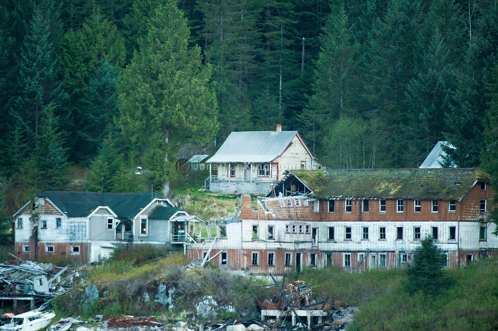 A dilapidated fishing community on the Inside Passage of BC.