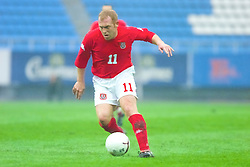 KIEV, UKRAINE - Tuesday, June 5, 2001: Wales' Layton Maxwell in action during the Under-21 World Cup Qualifying match against Ukraine at the Dynamo Stadium. (Pic by David Rawcliffe/Propaganda)