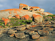 "The Remarkable Rocks form fantastic shapes in Flinders Chase National Park, Kangaroo Island, South Australia. The Remarkable Rocks began as magma injected into a sedimentary rock layer and crystallized into a single granite monolith a few kilometers below the earths surface. Subsurface weathering cracked the granite along joint planes and created corestones. Erosion peeled away the surface and revealed the corestones, which were sculpted asymmetrically by the affects of rain and prevailing southerly winds. Published in ""Light Travel: Photography on the Go"" book by Tom Dempsey 2009, 2010."