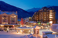 Whistler Village nestles at the base of Whistler and Blackcomb Mountain. Seen here on a winter evening.