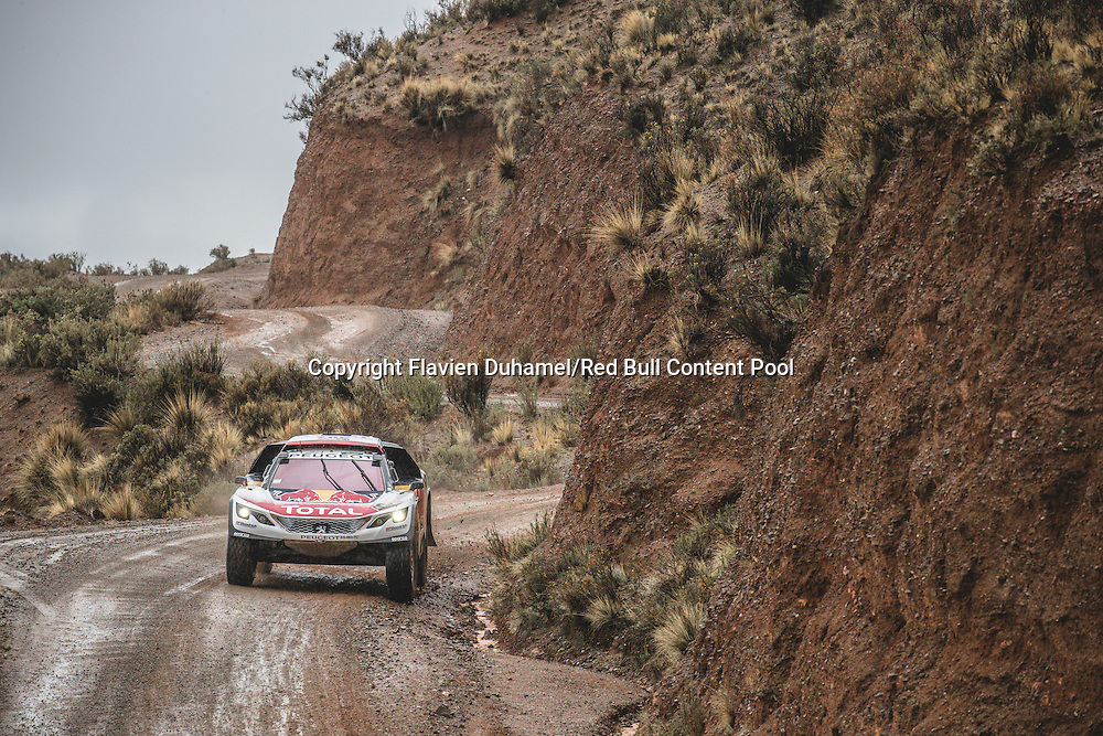 Cyril Despres (FRA) of Team Peugeot TOTAL races during stage 5 of Rally Dakar 2017 from Tupiza to Oruro, Bolivia on January 6, 2017. // Flavien Duhamel/Red Bull Content Pool // P-20170106-00168 // Usage for editorial use only // Please go to www.redbullcontentpool.com for further information. //