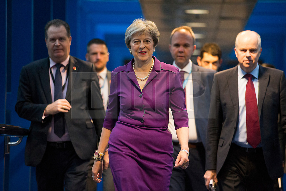 © Licensed to London News Pictures. 02/10/2018. Birmingham, UK. Prime Minister Theresa May this morning at the Conservative Party Conference ahead of Boris Johnson's arrival later today. Conservative party conference being held at the International Convention Centre in Birmingham. Photo credit: Andrew McCaren/LNP