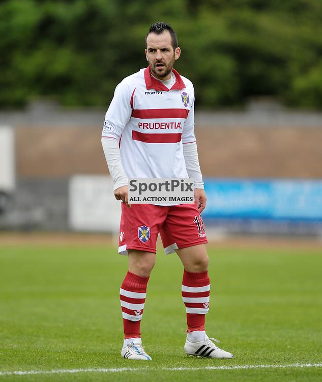 Aurelien Mazel (Stirling Albion, red &amp; white)<br /> <br /> Stirling Albion v Queen's Park, SPFL League 2, 26th September 2015<br /> <br /> (c) Alex Todd | SportPix.org.uk