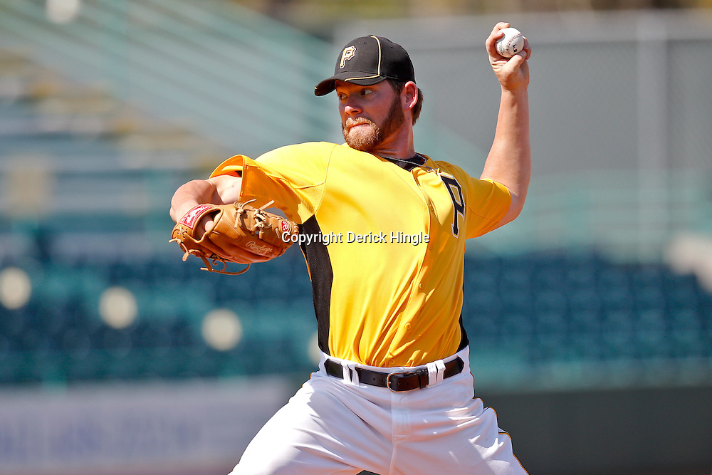 February 25, 2011; Bradenton, FL, USA; Pittsburgh Pirates pitcher Rudy Owens (73) during a spring training exhibition game against the State College of Florida Manatees at McKechnie Field. The Pirates defeated the Manatees 21-1. Mandatory Credit: Derick E. Hingle