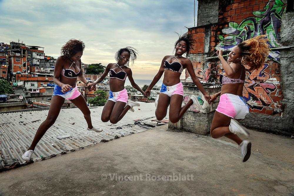 Bonde do Quebra - Funk on the rooftops. Rehearsing their new choreography in Cantagalo favela, Ipanema, Rio de Janeiro.