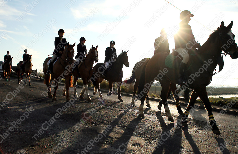 Riders and horses make their way out at the East Clare Hunt in Clonlara on Sunday.<br /> Photograph by Yvonne Vaughan