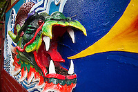 Closeup detail of decorative  Siew San Teng temple, Kuching's oldest Chinese Temple.