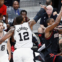 01 May 2017: Houston Rockets forward Trevor Ariza (1) goes for the layup past San Antonio Spurs forward LaMarcus Aldridge (12) during the Houston Rockets 126-99 victory over the San Antonio Spurs, in game 1 of the Western Conference Semi Finals, at the AT&T Center, San Antonio, Texas, USA.