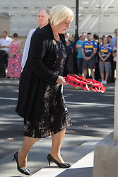 Whitehall, London, August 28th 2015.  Six wreaths are laid at the Cenotaph by representatives from the Armed Forces, the RFL, the Parliamentary Rugby League Group and Ladbrokes Challenge Cup finalists Hull Kingston Rovers and Leeds Rhinos, ahead of Saturday's Ladbrokes Challenge Cup Final at Wembley. PICTURED: Denise Edgar from the British Legion.