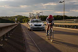 Stephanie Pohl (Cervélo Bigla) chases the sunset at Thüringen Rundfarht 2016 - Stage 4 a 19km time trial starting and finishing in Zeulenroda Triebes, Germany on 18th July 2016.