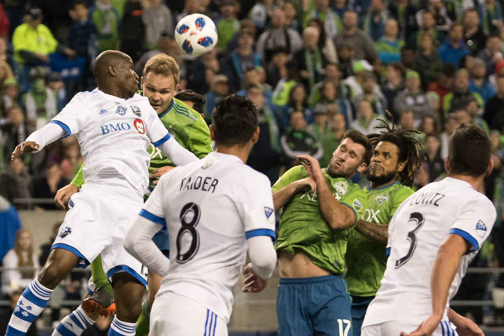 March 31, 2018; Seattle, Washington, US;  during MLS action between Seattle and Mongreal at Century Link Field. Photo credit: Rick May - Rick May Photography