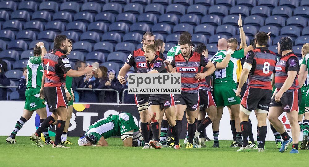 Edinburgh players celebrate thier first half try by Sam Hidalgo-Clyne. Edinburgh Rugby v London Irish, 18th December 2015