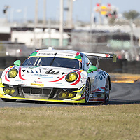 January 06, 2018 - Daytona Beach, Florida, USA:  The Manthey Racing Porsche 911 GT3 R races through the turns at the Roar Before The Rolex 24 at Daytona International Speedway in Daytona Beach, Florida.