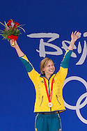 Winner Lisbeth (Libby) TRICKETT of Australia waves to the crowd during the award ceremony for the Women's 100m Butterfly Final held at the National Aquatics Center (Water Cube) at the Beijing 2008 Olympic Games in Beijing, China, Monday, Aug. 11, 2008. (Photo by Patrick B. Kraemer / MAGICPBK)