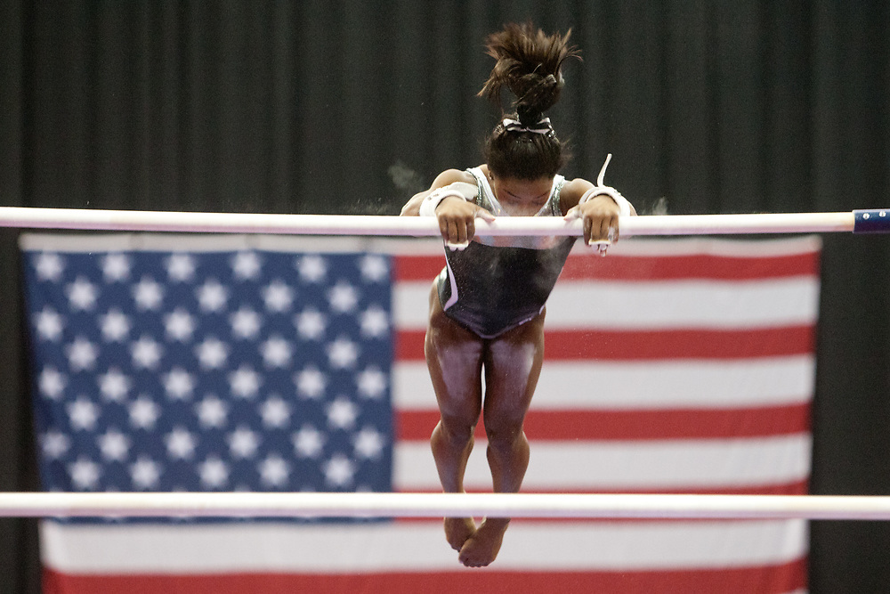USA Gymnastics GK Classic - Schottenstein Center, Columbus, OH - July 28th, 2018. Simone Biles  competes on the bars  at the Schottenstein Center in Columbus, OH; in the USA Gymnastics GK Classic in the senior division. Simone Biles won the allround with Riley McCusker second and Morgan Hurd third. - Photo by Wally Nell/ZUMA Press
