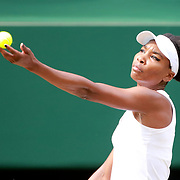 LONDON, ENGLAND - JULY 13:  Venus Williams of the United States in action against Johanna Konta of Great Britain in the Ladies Singles Semi Final match during the Wimbledon Lawn Tennis Championships at the All England Lawn Tennis and Croquet Club at Wimbledon on July 13, 2017 in London, England. (Photo by Tim Clayton/Corbis via Getty Images)