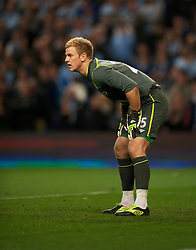MANCHESTER, ENGLAND - Monday, April 30, 2012: Manchester City's goalkeeper Joe Hart in action against Manchester United during the Premiership match at the City of Manchester Stadium. (Pic by Chris Brunskill/Propaganda)