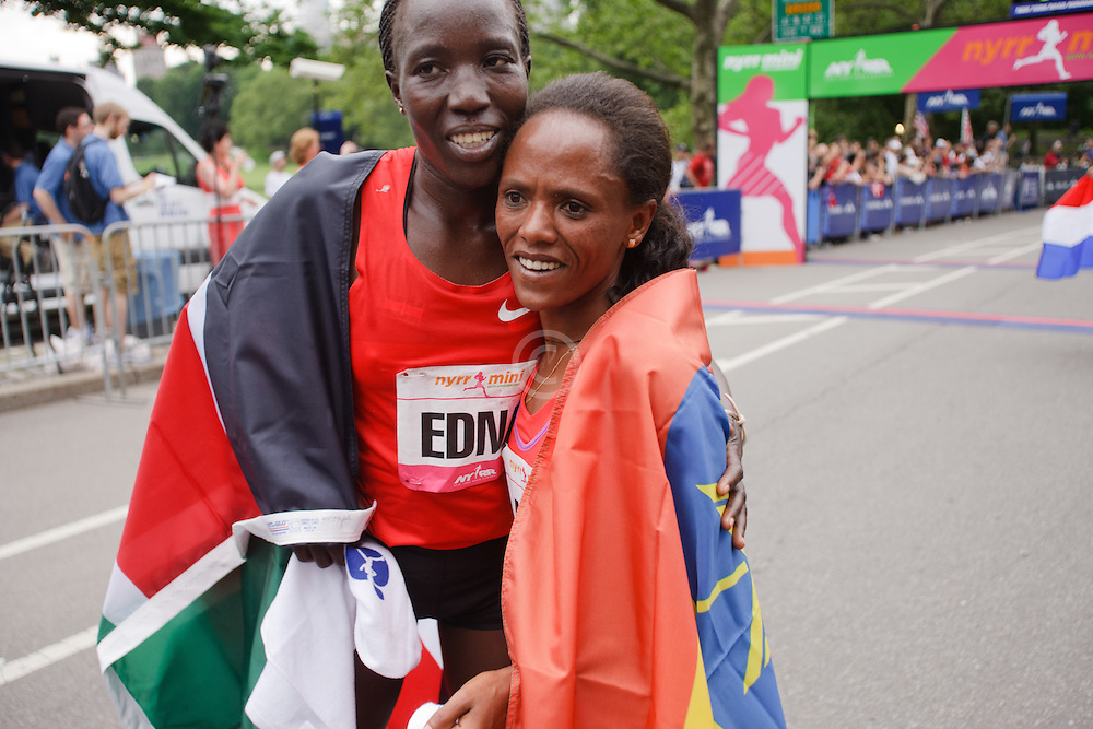 NYRR Mini 10K road race (40th year); Edna Kiplagat, Kenya, Aheza Kiros