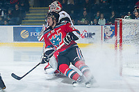 KELOWNA, CANADA - NOVEMBER 30:  Colton Sissons #15 of the Kelowna Rockets stops in front of the net of the Moose Jaw Warriors at the Kelowna Rockets on November 30, 2012 at Prospera Place in Kelowna, British Columbia, Canada (Photo by Marissa Baecker/Getty Images) *** Local Caption ***