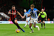 Philip Billing (8) of Huddersfield Town on the attack with Steve Cook (3) of AFC Bournemouth chasing him down during the Premier League match between Bournemouth and Huddersfield Town at the Vitality Stadium, Bournemouth, England on 4 December 2018.