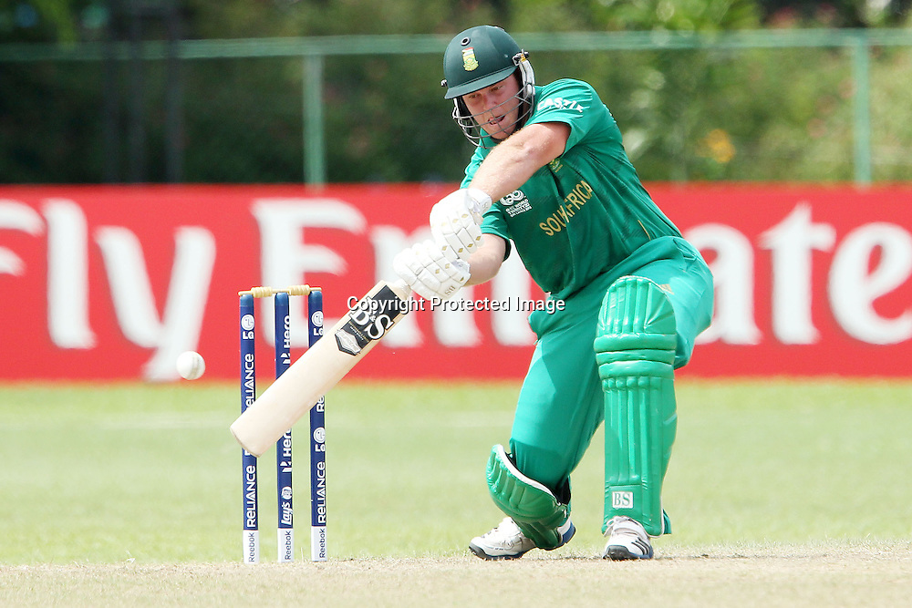 Richard Levi hits out but loses his wicket during the ICC Twenty 20 World Cup warm up match between New Zealand and South Africa held at the Colts Cricket Club in Colombo, Sri Lanka on the 17th September 2012<br /> <br /> Photo by Ron Gaunt/SPORTZPICS/PHOTOSPORT