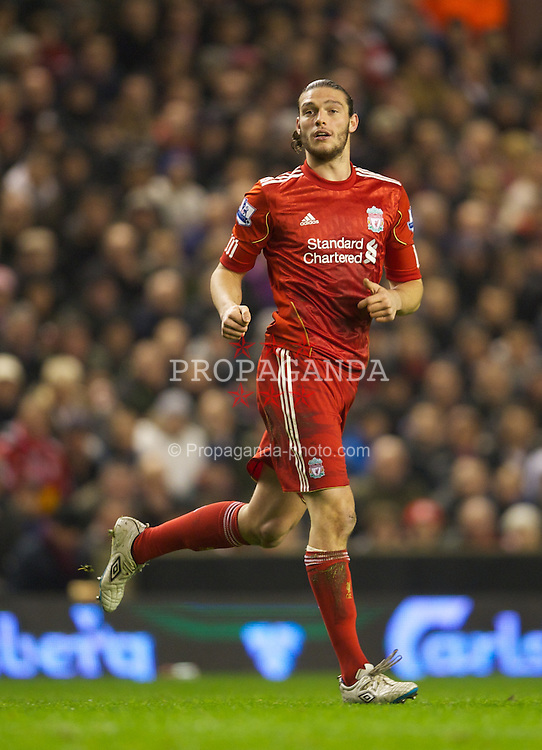LIVERPOOL, ENGLAND - Monday, February 6, 2012: Liverpool's Andy Carroll in action against Tottenham Hotspur during the Premiership match at Anfield. (Pic by David Rawcliffe/Propaganda)