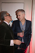 PETER YORK, JIM CHEOROS, Literary Review  40th anniversary party and Bad Sex Awards,  In & Out Club, 4 St James's Square. London. 2 December 2019