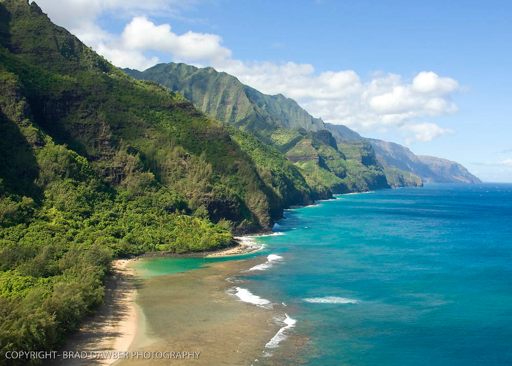 Super low angle view of Kee Beach and looking down the Napali coast