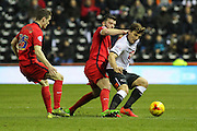 Derby County forward Chris Martin holds up the ball during the Sky Bet Championship match between Derby County and Blackburn Rovers at the iPro Stadium, Derby, England on 24 February 2016. Photo by Aaron  Lupton.