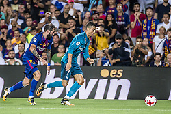 August 13, 2017 - Barcelona, Catalonia, Spain - Real Madrid forward RONALDO competes with FC Barcelona midfielder ALEIX VIDAL for the ball during the Spanish Super Cup Final 1st leg between FC Barcelona and Real Madrid at the Camp Nou stadium in Barcelona (Credit Image: © Matthias Oesterle via ZUMA Wire)