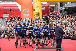Hitec Products are presented to the crowds in Maastricht at the Amstel Gold Race Ladies Edition - a 121.6 km road race between Maastricht and Valkenburg on April 16 2017 in Limburg, Netherlands.