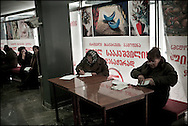 """Supporters of Mikhail Saakashvili are registering for their support at the presidential office days before the Presidential Elections in Tbilisi, Georgia on 03 January, 2008. Mikhail Saakashvili was elected president in January 2004. OSCE observers described the vote as a """"welcome contrast"""" to a rigged parliamentary poll the previous November. Mr Saakashvili had led the ''Rose Revolution'' protests which followed that election, forcing his predecessor as president, Eduard Shevardnadze, to resign. Soon after that, Mr Saakashvili consolidated his position when his National Movement-Democratic Front won parliamentary elections. It holds the majority of seats and opposition representation is extremely weak. However, after last months protests of the opposition, that were violently stopped by the police, several parties expect that there will be again demonstrations organized by the (pro Russian) opposition if Saakashvili will win the elections held on January 5."""