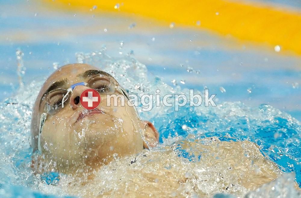Laszlo CSEH of Hungary swims the backstroke leg in the men's 400m Individual Medley (IM) Heats at the 13th European Short Course Swimming Championships in Istanbul, Turkey, Friday, Dec. 11, 2009. (Photo by Patrick B. Kraemer / MAGICPBK)